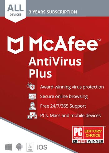 McAfee AntiVirus Plus 2020 10 Devices 3 Years Digital Code Global