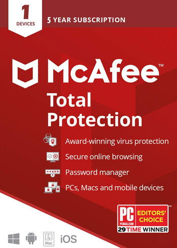 McAfee Total Protection 2020 1 Device 5 Years Key Global