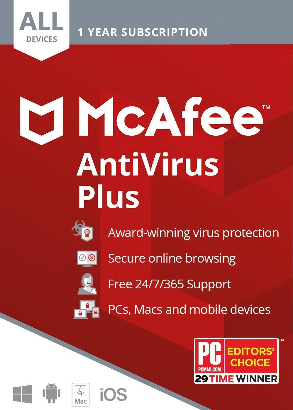 McAfee AntiVirus Plus 2020 Unlimited Devices 1 Year Digital Code Global