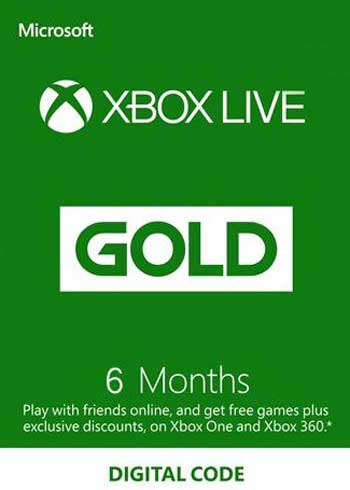 Xbox Live 6 Months Gold Subscription Card Global