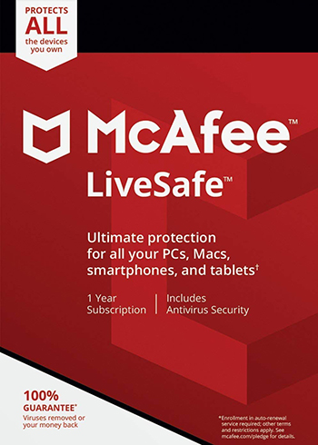 McAfee Livesafe 2020 Unlimited Devices 1 Year Digital Code Global