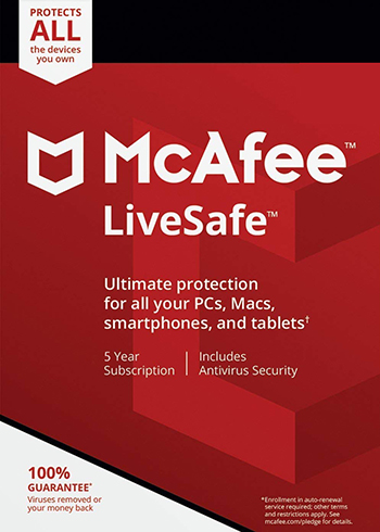 McAfee Livesafe 2020 Unlimited Devices 5 Year Digital Code Global, mmorc.com